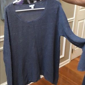 PureJill Heather Blue Linen Swing Sweater